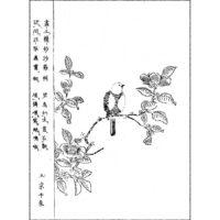 沙羅樹に碧鳥 - 画図百花鳥(享保14年・1729年