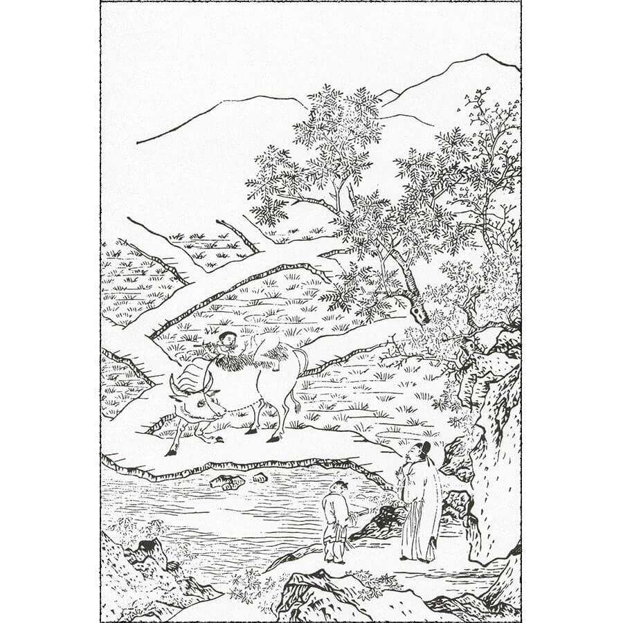 牧豎・(牧童の意) - 八種画譜(寛文12年・1672年日本版)