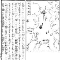 出島 - [左]日本山海名産図会(寛政11年・1799年)[右]長崎土産(弘化4年・1847年)