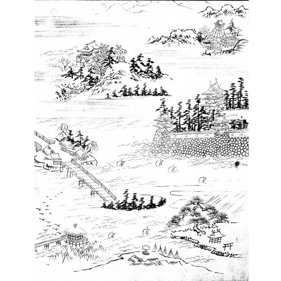 近江八景 - ふくさ雛形集(江戸後期)