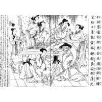唐詩選 春思 - 唐詩選画本 七言絶句(寛政2年・1790年)