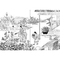 座敷に庭 - 絵本和比事(寛保2年・1727年)